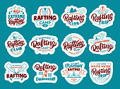 Set of Rafting stickers, patches. Colorful badges, emblems, stamps for club on blue background. Collection of retro symbols with hand-drawn text, phrases. Vector illustration