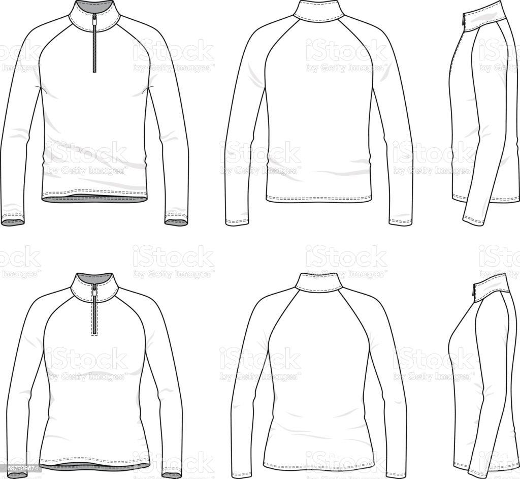 Satz von raglan kurzarm T-shirt mit Reißverschluss. – Vektorgrafik