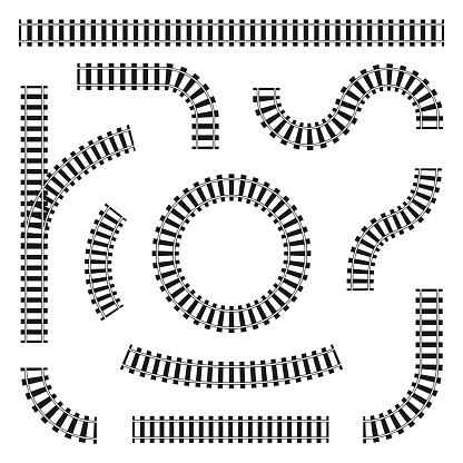 Set of railroad tracks in different shapes, straight and curves, turns and circles. Black railroad rails and sleepers isolated on white background. Vector