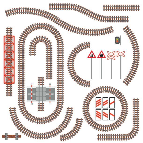 illustrations, cliparts, dessins animés et icônes de ensemble de pièces de fer et de la signalisation routière - voie ferrée