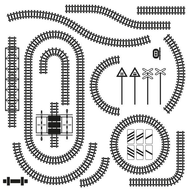 illustrations, cliparts, dessins animés et icônes de ensemble de pièces de chemin de fer et de panneaux routiers. illustration vectorielle. - voie ferrée