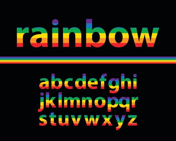ilustraciones, imágenes clip art, dibujos animados e iconos de stock de conjunto de arco iris de colores letras minúsculas del alfabeto con fondo negro, ilustración vectorial - tipos de letra de historietas