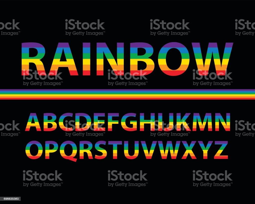 Conjunto de letras mayúsculas del alfabeto color arco iris con el fondo negro, ilustración vectorial - ilustración de arte vectorial