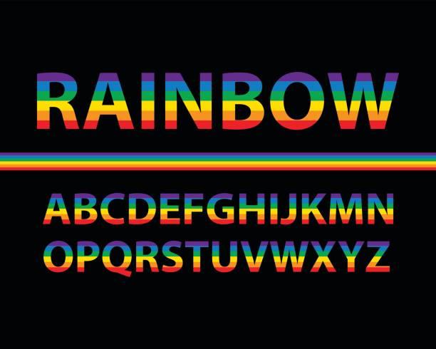 ilustraciones, imágenes clip art, dibujos animados e iconos de stock de conjunto de letras mayúsculas del alfabeto color arco iris con el fondo negro, ilustración vectorial - tipos de letra de historietas