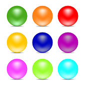 Set of Rainbow Colorful Balls isolated on white background. Glossy Spheres. Vector illustration for Your Design.