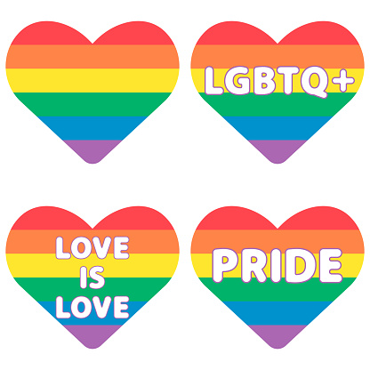 Set of rainbow hearts with lgbtq text. Love concept vector illustration.