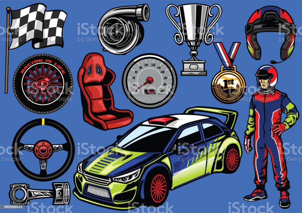 set of rally car color vector art illustration