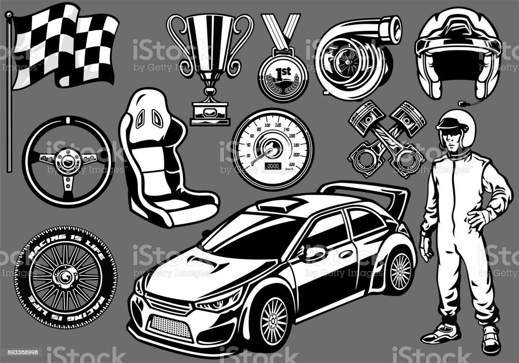 Set of Rally car racing elements vector art illustration