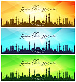 Set of ramadan kareem banners