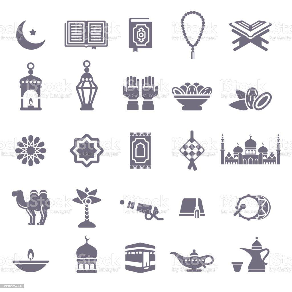 Set of Ramadan Kareem Black Icons