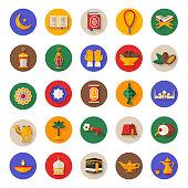 Set of Ramadan Kareem Icons on Circles