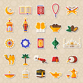 Set of Ramadan Kareem Icons Stickers