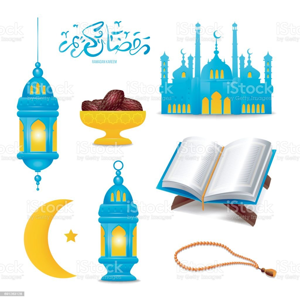 Set of Ramadan Kareem icons vector art illustration