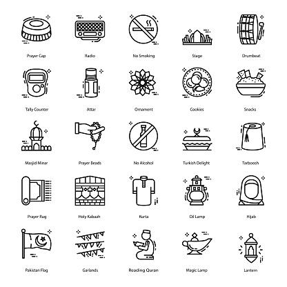 Set of Ramadan Line Icons