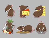 Rats Rodent Cheese Trap set, with standing rat, eating cheese rat, sleeping on cheese rat, hungry rat, angry rat and trapped rat vector illustration cartoon.