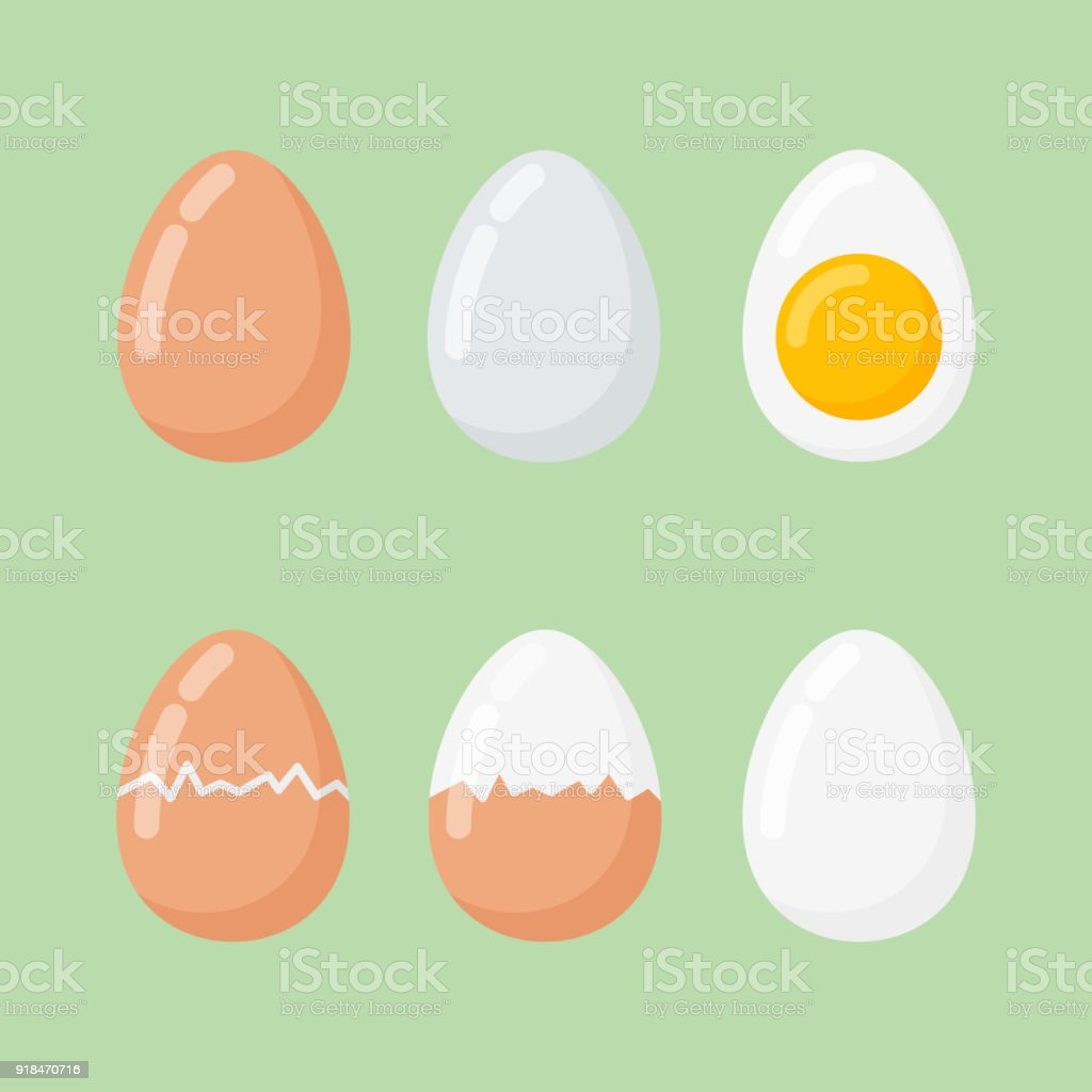 Set of raw and boiled eggs isolated on green background.