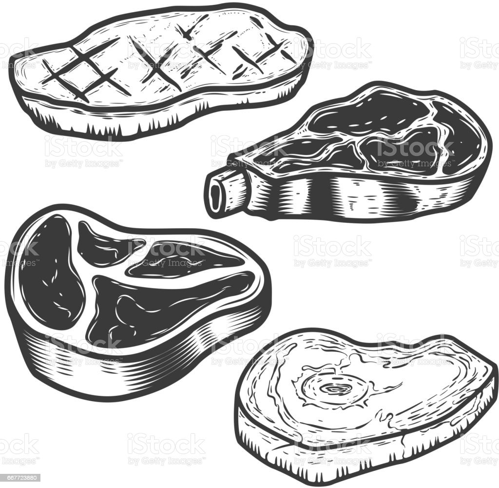 Set Of Raw Meat And Grilled Meat Illustrations Isolated On White ... for Beef Clipart Black And White  257ylc