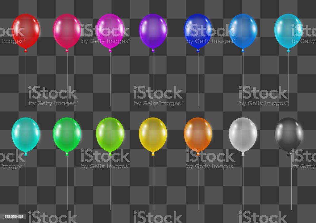 set of real colorful helium gas balloons vector art illustration