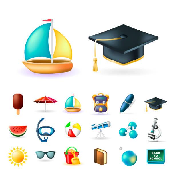 bildbanksillustrationer, clip art samt tecknat material och ikoner med uppsättning av riktigt söt beach och utbildning element på vit bakgrund. isolerade vektorillustration - spain solar