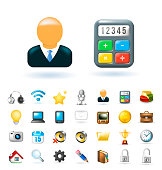 Set of Real Cute Business and Technology Elements on White Background . Isolated Vector Illustration
