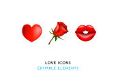 Set of Real Cute Love Elements on White Background . Isolated Vector Illustration