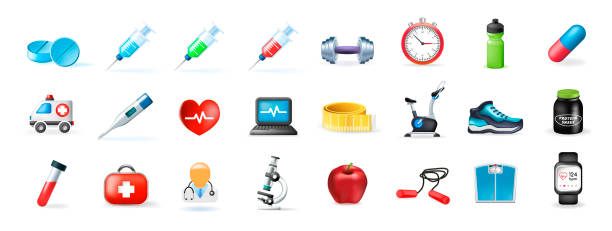 set of real cute medical and fitness elements on white background . isolated vector illustration - group of people stock illustrations