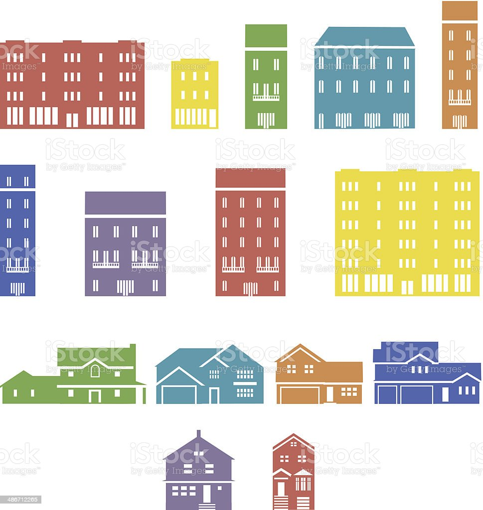 Set of real estate icons, collection of different buildings vector art illustration