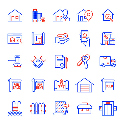 Set of Real Estate Related Line Icons. Editable Stroke. Simple Outline Icons.