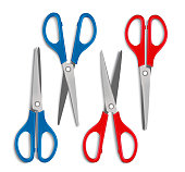 Set of Realistic 3d Blue and Red Plastic Scissors