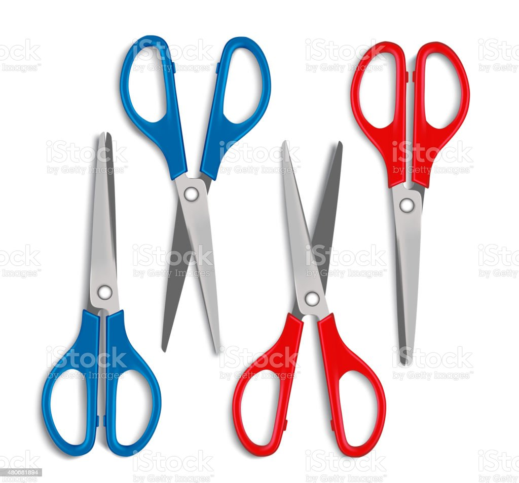 Set of Realistic 3d Blue and Red Plastic Scissors vector art illustration