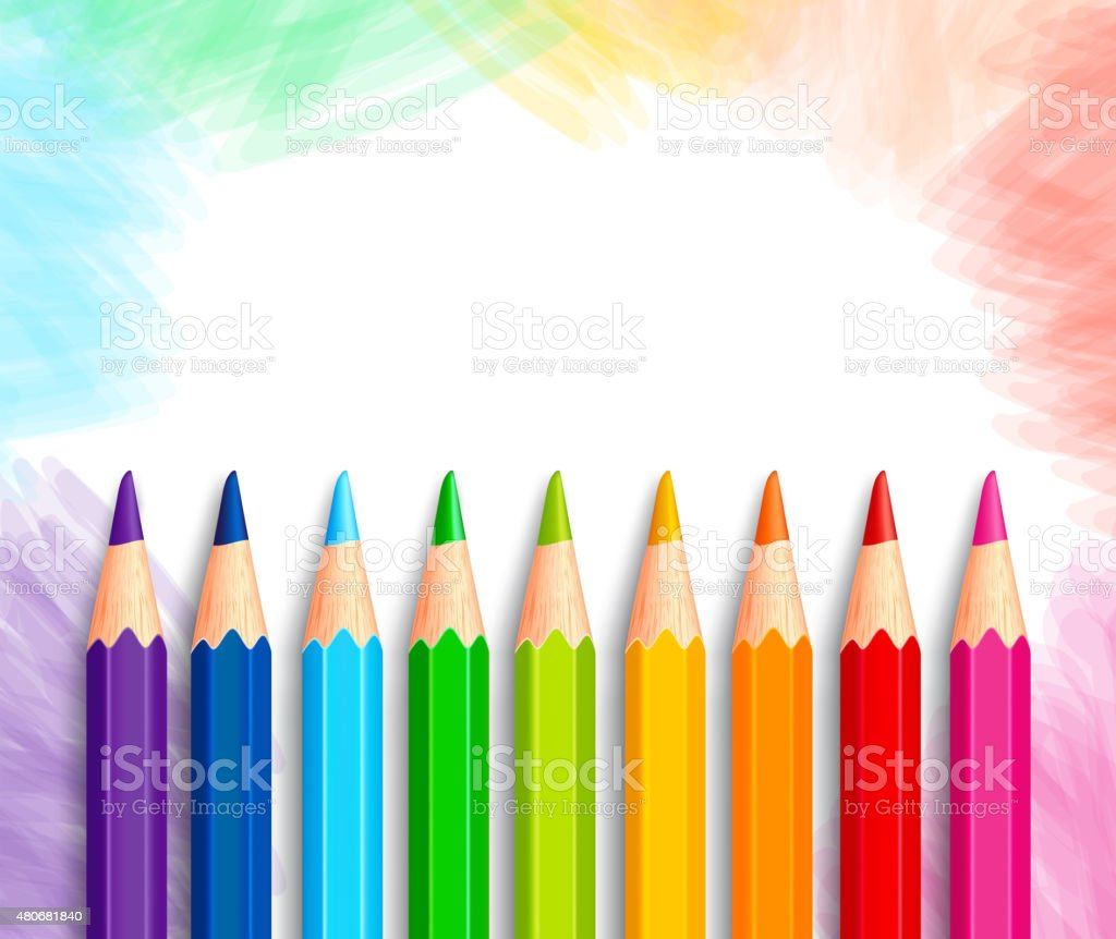 Set of Realistic 3D Colorful Colored Pencils or Crayons vector art illustration