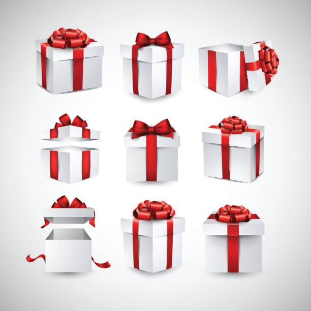 satz von realistische 3d-geschenk-boxen. - geburtstagsgeschenk stock-grafiken, -clipart, -cartoons und -symbole