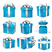 Collection of 3d gift blue boxes with satin silver bows. Realistic vector illustration.