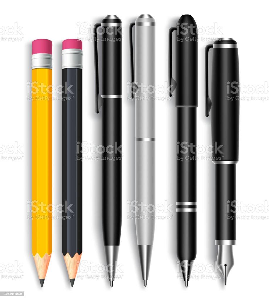 Set of Realistic 3D Pencils and Black Ball Pens vector art illustration