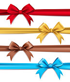 Set of Realistic 3D Silk or Satin Ribbons and Bow for Elements and Decorations for Valentines Day and Birthday Celebrations. Isolated Vector Illustration