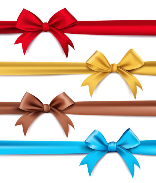 Set of Realistic 3D Silk or Satin Ribbons and Bow vector art illustration