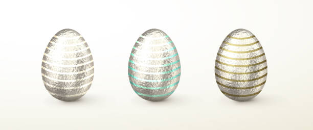 set of realistic 3d vector silver easter eggs - stripped pattern stock illustrations, clip art, cartoons, & icons