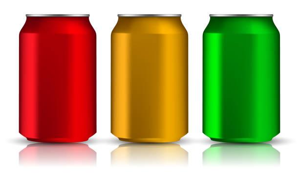 Satz von realistischen Aluminiumdosen. Drei Metall Flaschen auf einem weißen Hintergrund. Vektor-Illusion 3d – Vektorgrafik