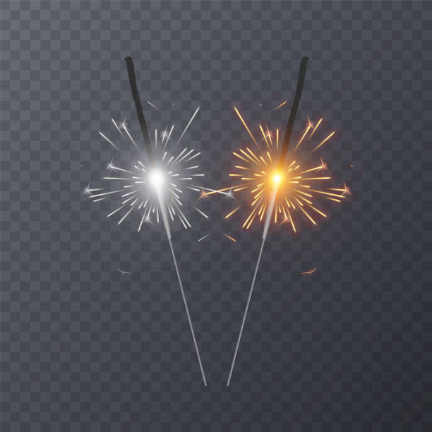 Set of realistic bengal light effects isolated on transparent background Set of realistic bengal light effects isolated on transparent background, decoration light effect for christmas holiday greeting card design. Vector eps 10 sparkler stock illustrations