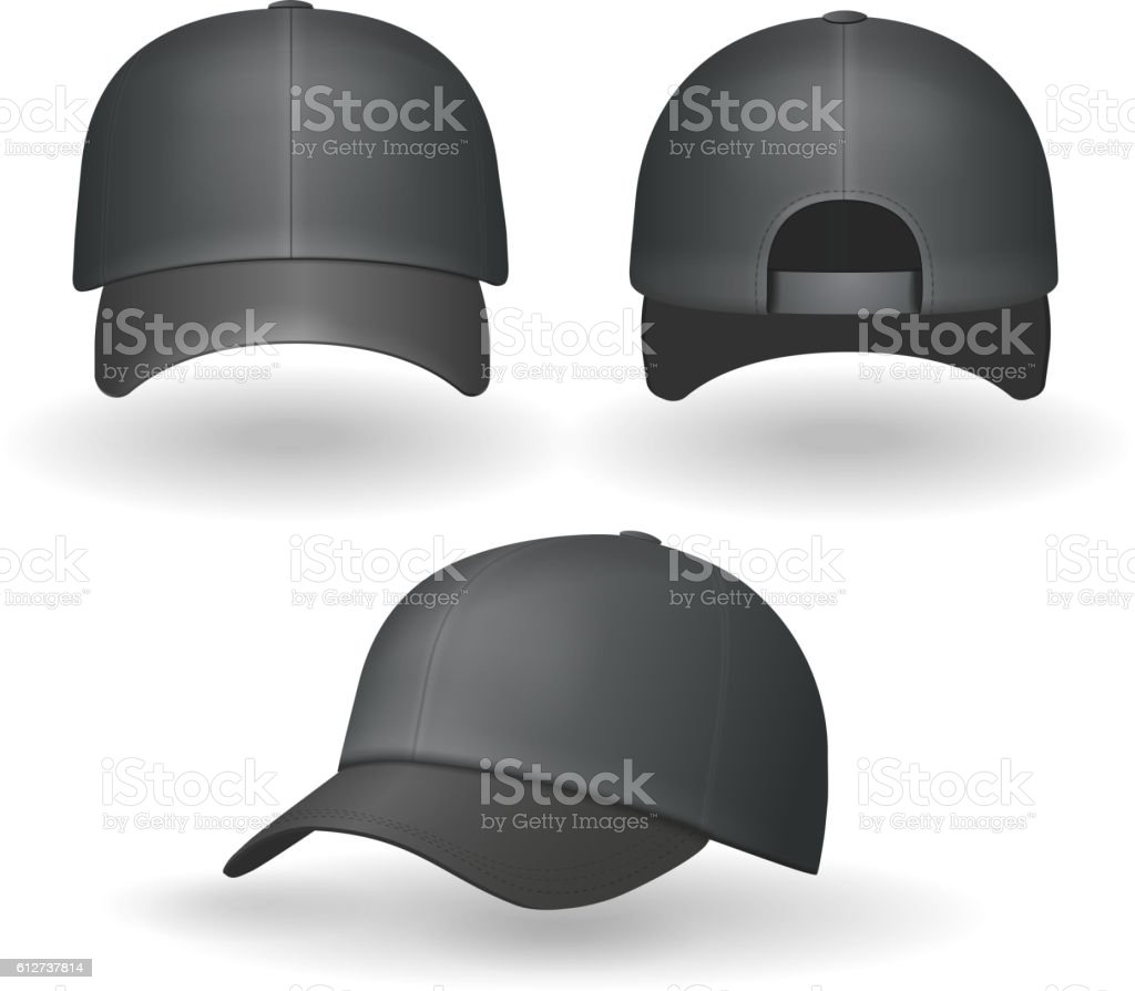 Set of realistic black baseball caps isolated Vector vector art illustration