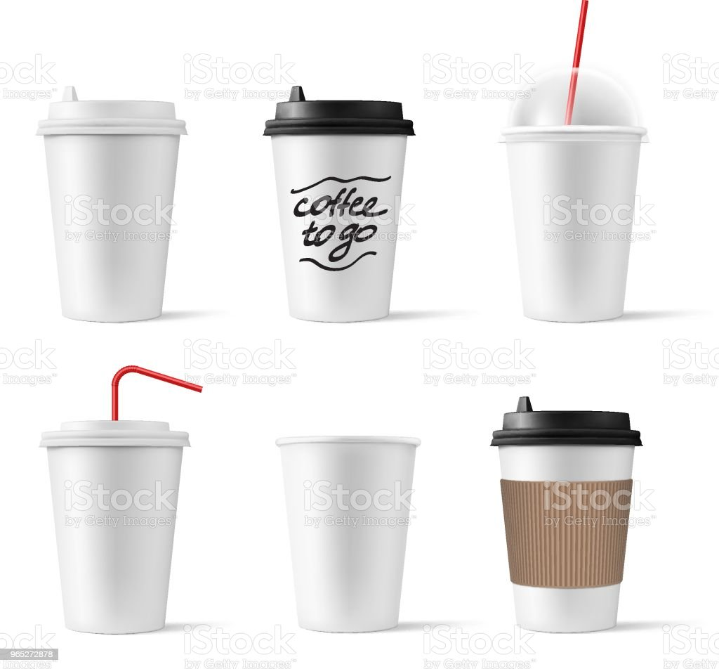 Set of realistic blank mock up paper cups with plastic lid. royalty-free set of realistic blank mock up paper cups with plastic lid stock vector art & more images of backgrounds