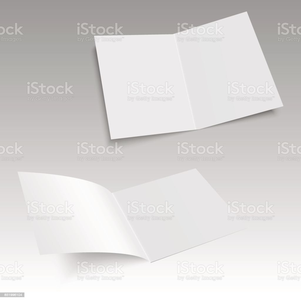 Set of realistic blank opened magazine mockup template. Vector. vector art illustration