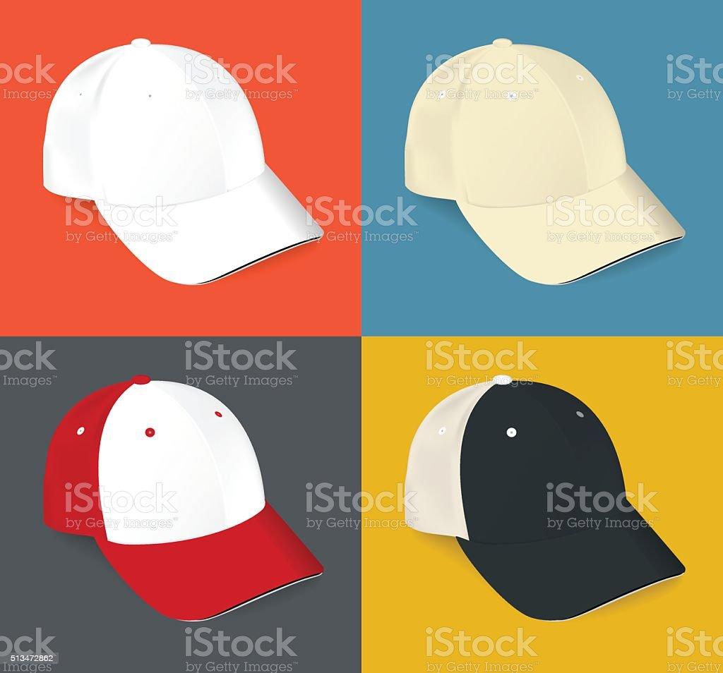 Realista blanco Conjunto de deportes de gorra de béisbol ilustración de  realista blanco conjunto de deportes e1ecb1558a1