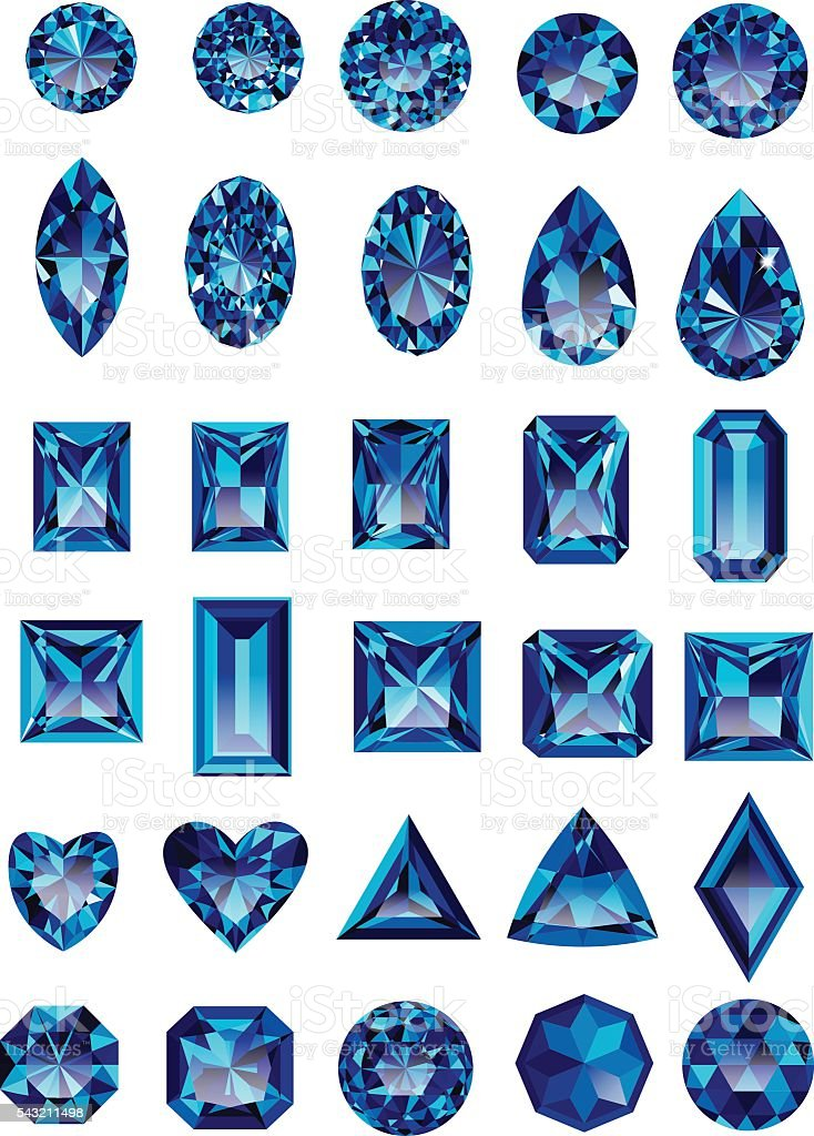 Set of realistic blue amethyst jewels vector art illustration