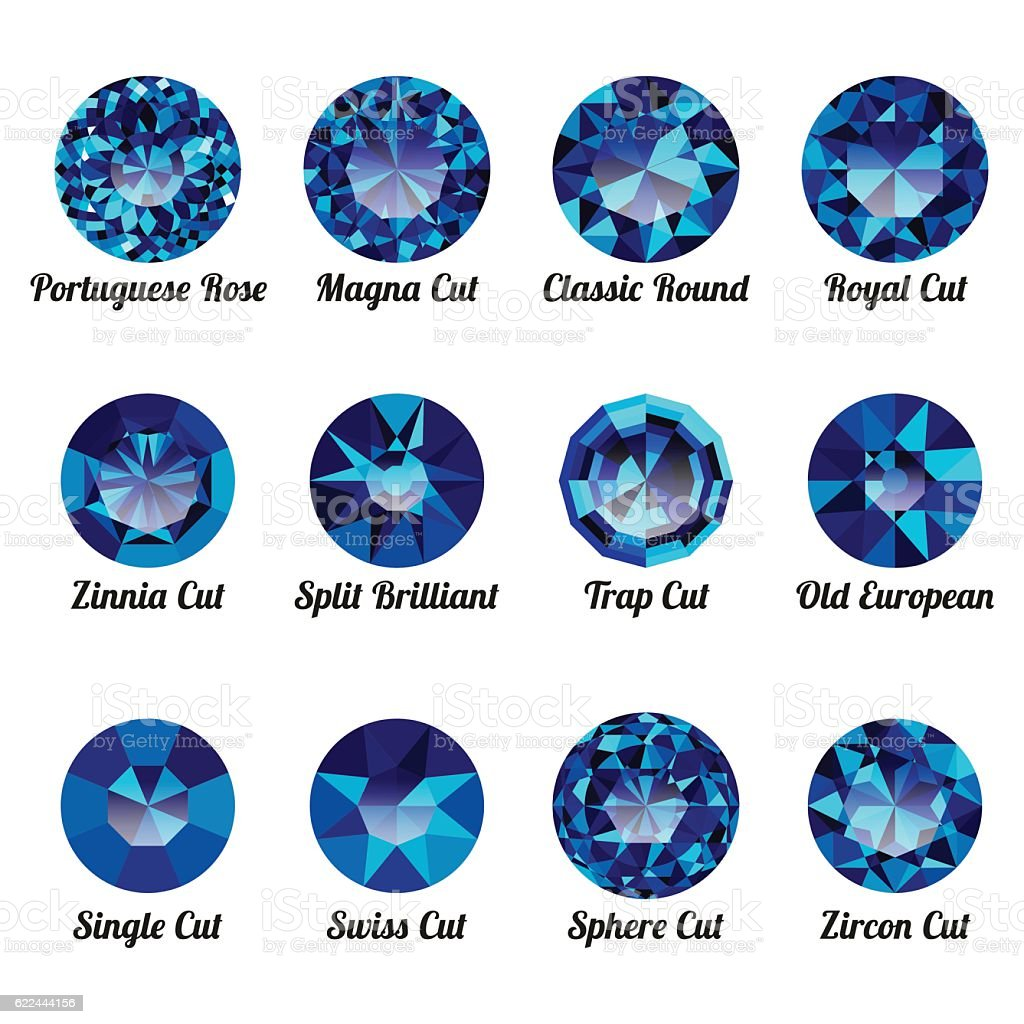 Set of realistic blue amethysts with round cuts vector art illustration
