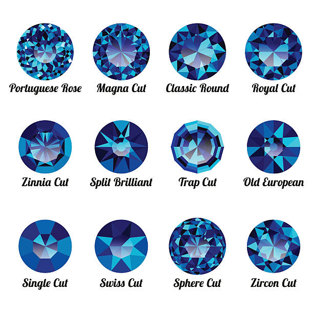 set of realistic blue amethysts with round cuts - granatschmuck stock-grafiken, -clipart, -cartoons und -symbole