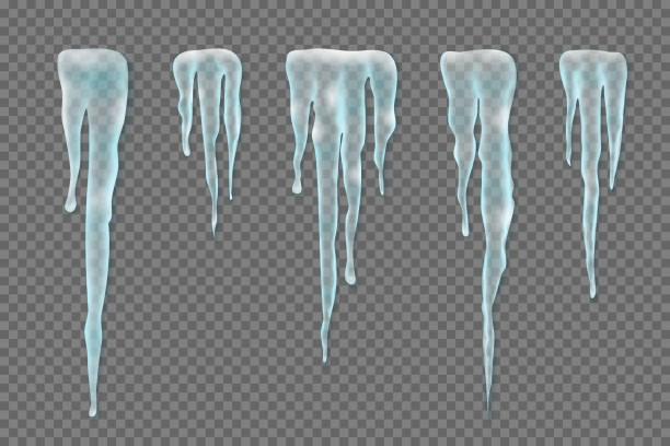 setzen sie realistische grenzen mit schnee eiszapfen auf transparenten hintergrund. elemente für weihnachten-design, vektor-illustration - eiszapfen stock-grafiken, -clipart, -cartoons und -symbole