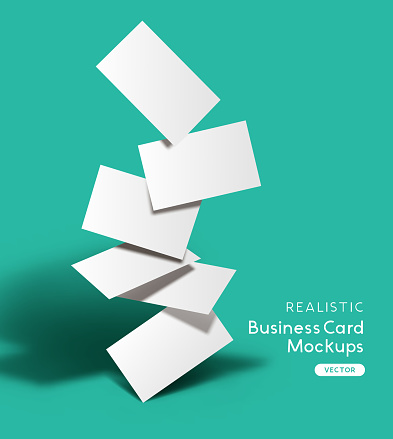 Set Of Realistic Business Cards Mockup