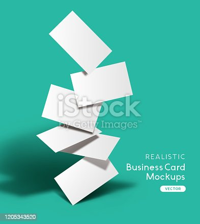 istock Set Of Realistic Business Cards Mockup 1205343520