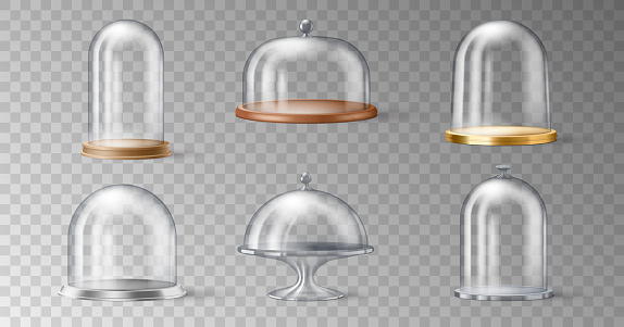 Set of realistic cake stand with glass domes cover on transparent background in 3d design